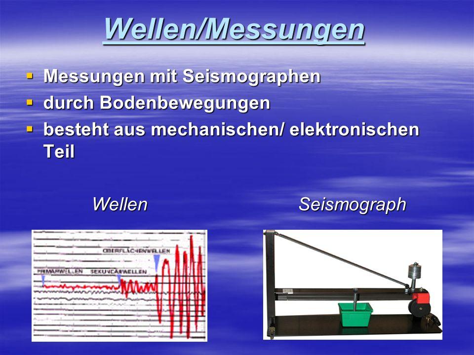 Wellen/Messungen Messungen mit Seismographen Messungen mit Seismographen durch Bodenbewegungen durch Bodenbewegungen besteht aus mechanischen/ elektro