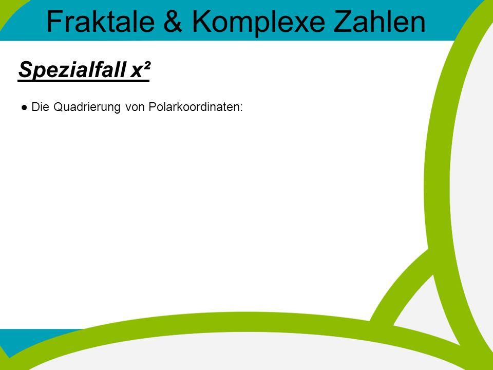 Fraktale & Komplexe Zahlen Spezialfall x² Die Quadrierung von Polarkoordinaten:
