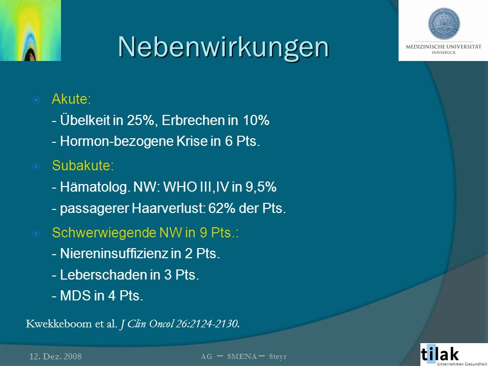 Nebenwirkungen Akute: - Übelkeit in 25%, Erbrechen in 10% - Hormon-bezogene Krise in 6 Pts. Subakute: - Hämatolog. NW: WHO III,IV in 9,5% - passagerer