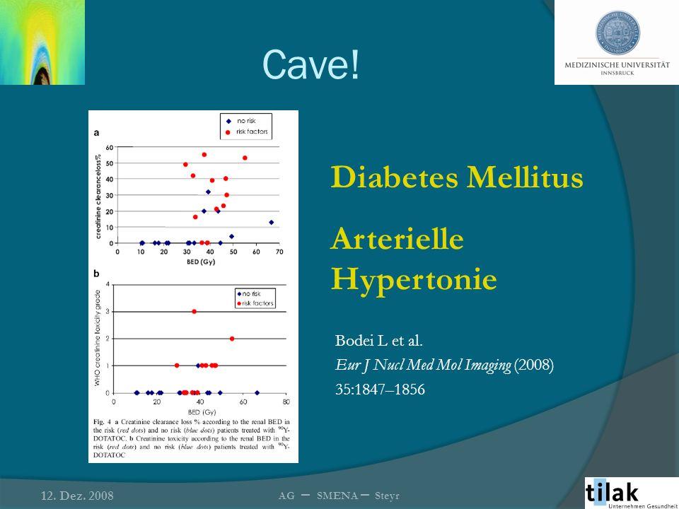 Cave! Diabetes Mellitus Arterielle Hypertonie Bodei L et al. Eur J Nucl Med Mol Imaging (2008) 35:1847–1856 12. Dez. 2008 AG – SMENA – Steyr