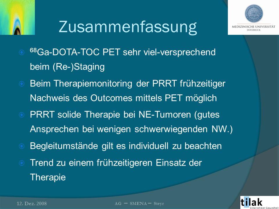 Zusammenfassung 68 Ga-DOTA-TOC PET sehr viel-versprechend beim (Re-)Staging Beim Therapiemonitoring der PRRT frühzeitiger Nachweis des Outcomes mittel