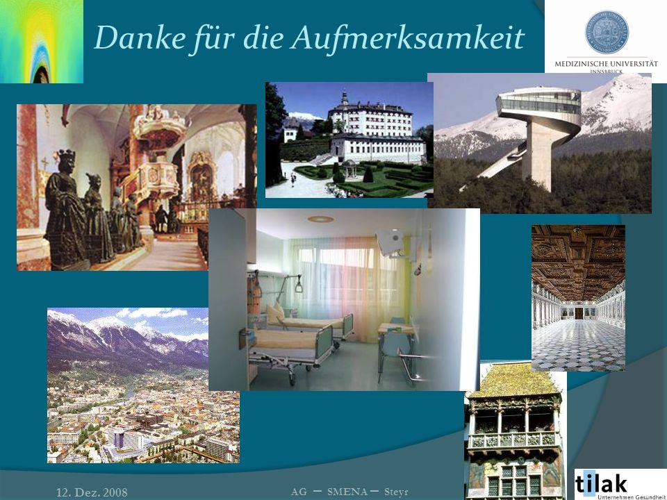 Danke für die Aufmerksamkeit 12. Dez. 2008 AG – SMENA – Steyr