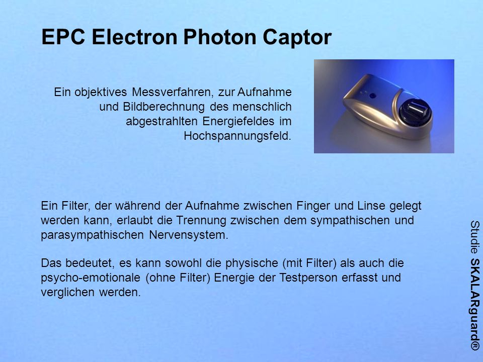 Ein Filter, der während der Aufnahme zwischen Finger und Linse gelegt werden kann, erlaubt die Trennung zwischen dem sympathischen und parasympathisch