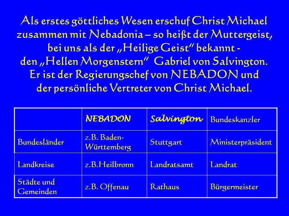 Als erstes göttliches Wesen erschuf Christ Michael zusammen mit Nebadonia – so heißt der Muttergeist, bei uns als der Heilige Geist bekannt - den Hell