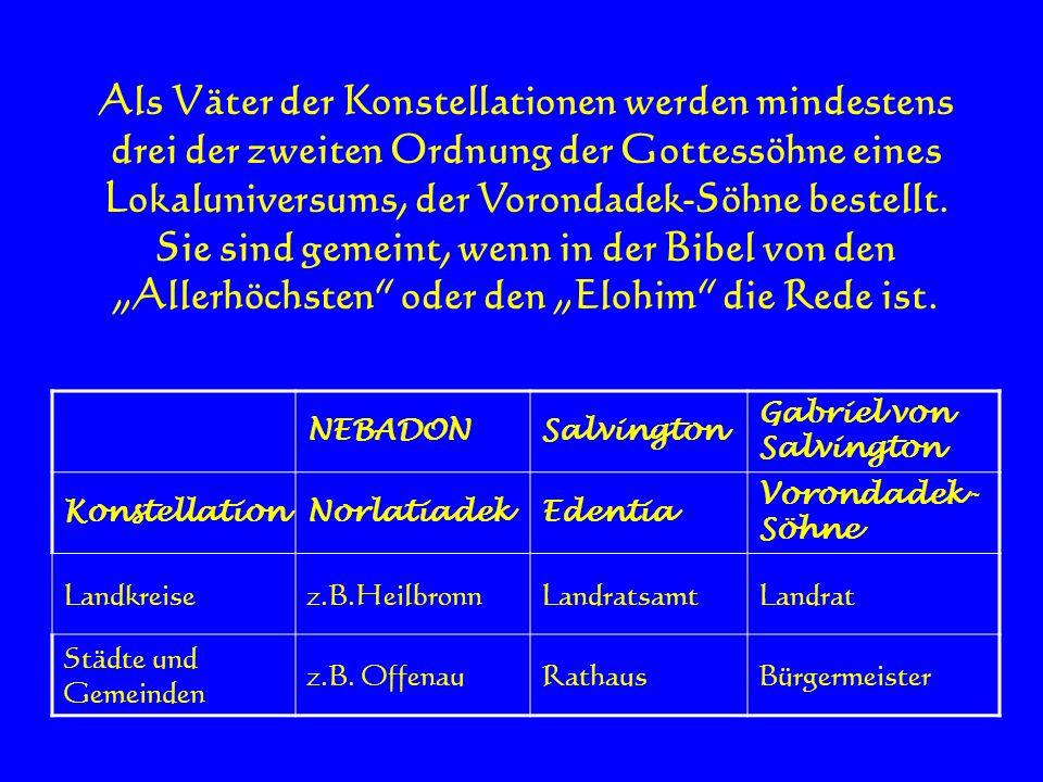 Als Väter der Konstellationen werden mindestens drei der zweiten Ordnung der Gottessöhne eines Lokaluniversums, der Vorondadek-Söhne bestellt. Sie sin
