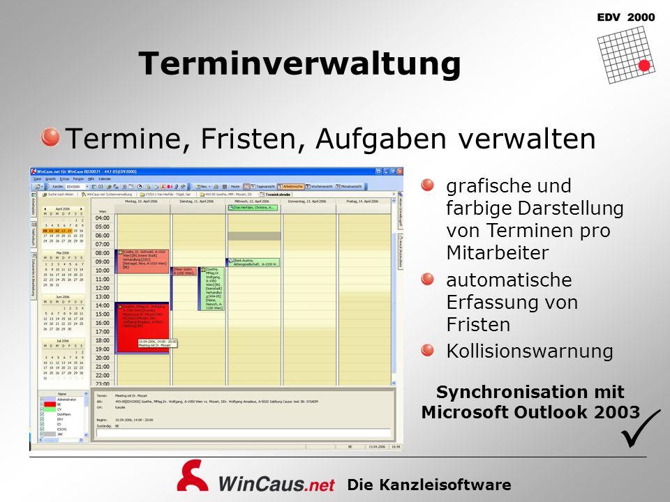 Die Kanzleisoftware Terminverwaltung Termine, Fristen, Aufgaben verwalten grafische und farbige Darstellung von Terminen pro Mitarbeiter automatische