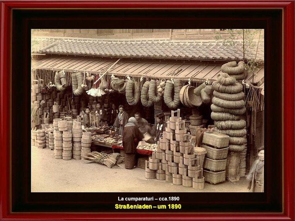 Cinci gheise pregatind mincarea – cca.1880 Fünf Geishas bei der Zubereitung der Speisen – um 1880