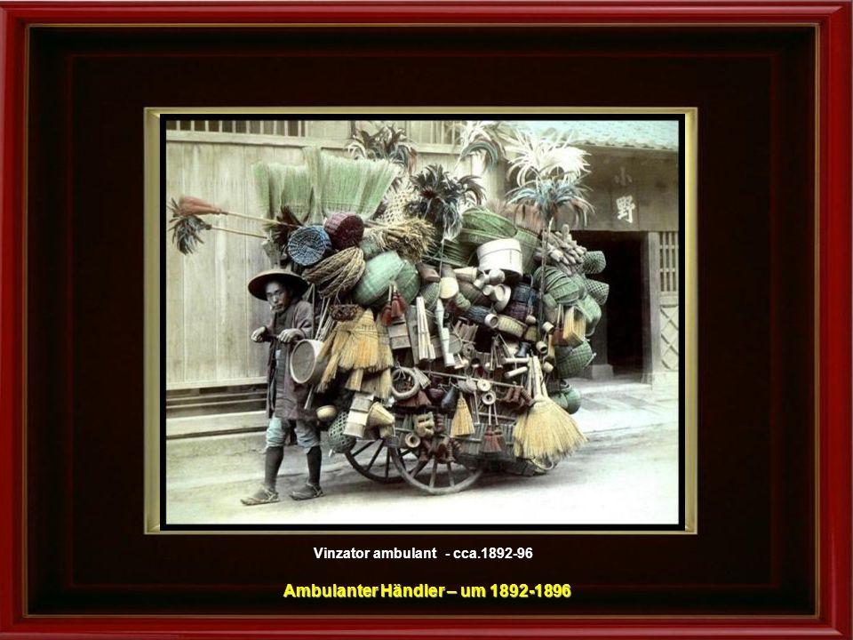 Vinzator ambulant - fotografie facuta in studio, cca.1880 Ambulanter Händler – Studio-Aufnahme - um 1880