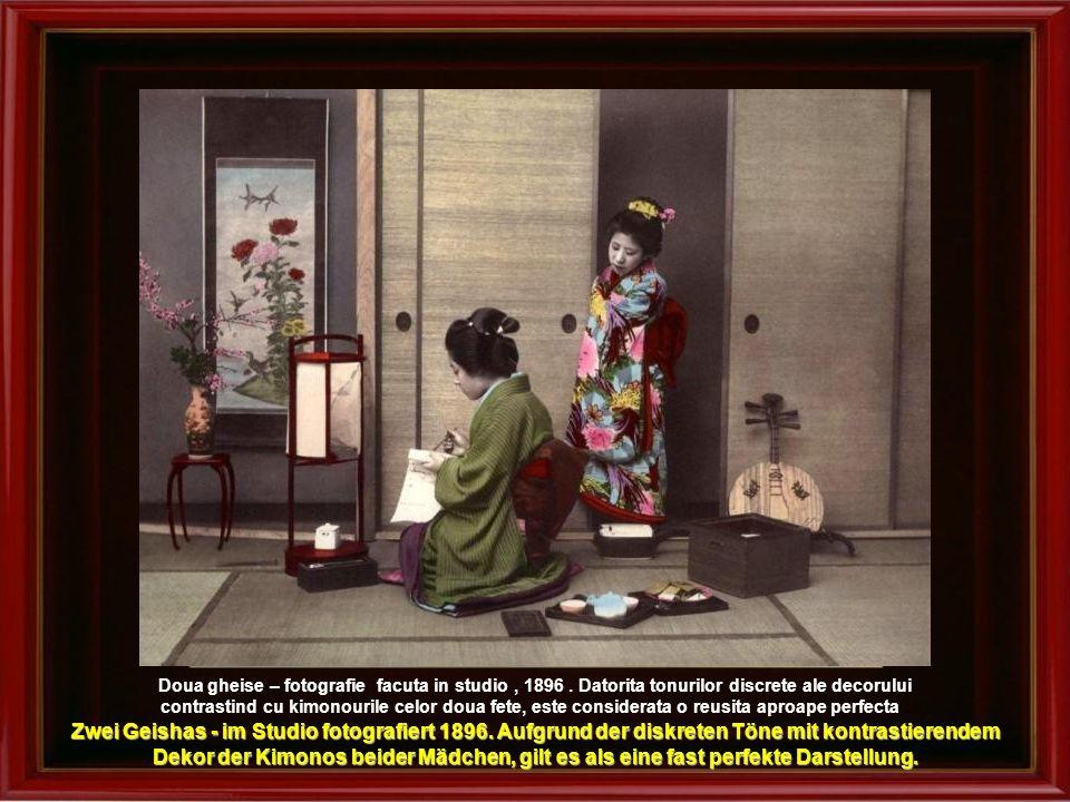 Gheisa la poarta de bambus – fotografie facuta in studio, cca.1890 Geisha mit Bambusgitter – Studiobild um 1890