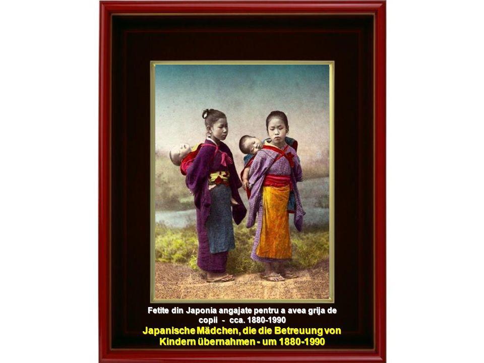 Patru gheise preparind taitei - cca.1890 Vier Geishas beim Vorbereiten von Nudeln – um 1890