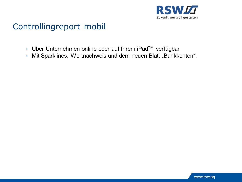 Über Unternehmen online oder auf Ihrem iPad TM verfügbar Mit Sparklines, Wertnachweis und dem neuen Blatt Bankkonten. Controllingreport mobil