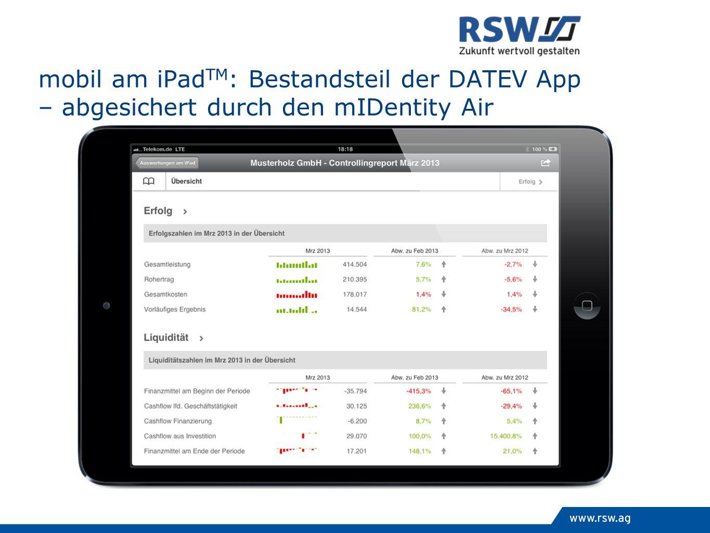 mobil am iPad TM : Bestandsteil der DATEV App – abgesichert durch den mIDentity Air