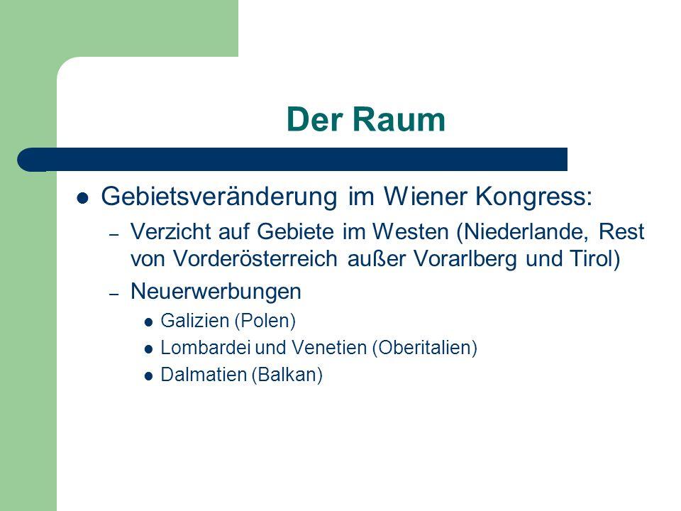 Der Raum Gebietsveränderung im Wiener Kongress: – Verzicht auf Gebiete im Westen (Niederlande, Rest von Vorderösterreich außer Vorarlberg und Tirol) –