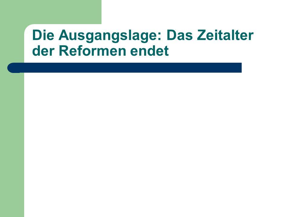 Die Ausgangslage: Das Zeitalter der Reformen endet Reformen Josephs II.