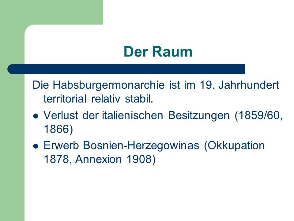 Der Raum Die Habsburgermonarchie ist im 19. Jahrhundert territorial relativ stabil. Verlust der italienischen Besitzungen (1859/60, 1866) Erwerb Bosni