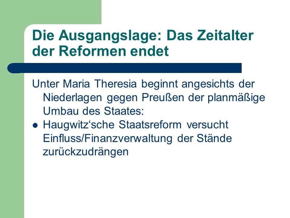 Die Ausgangslage: Das Zeitalter der Reformen endet Unter Maria Theresia beginnt angesichts der Niederlagen gegen Preußen der planmäßige Umbau des Staates: Erste Kirchenreformen ab den 1760er Jahren (Beginn des Josephinismus)