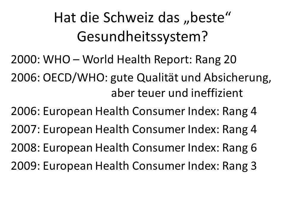 Hat die Schweiz das beste Gesundheitssystem? 2000: WHO – World Health Report: Rang 20 2006: OECD/WHO: gute Qualität und Absicherung, aber teuer und in