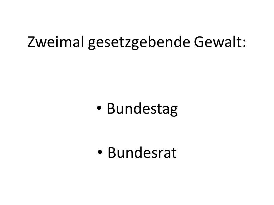 Zweimal gesetzgebende Gewalt: Bundestag Bundesrat