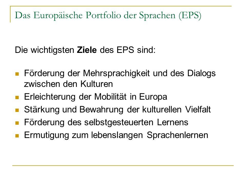 Das Europäische Portfolio der Sprachen (EPS) Die wichtigsten Ziele des EPS sind: Förderung der Mehrsprachigkeit und des Dialogs zwischen den Kulturen