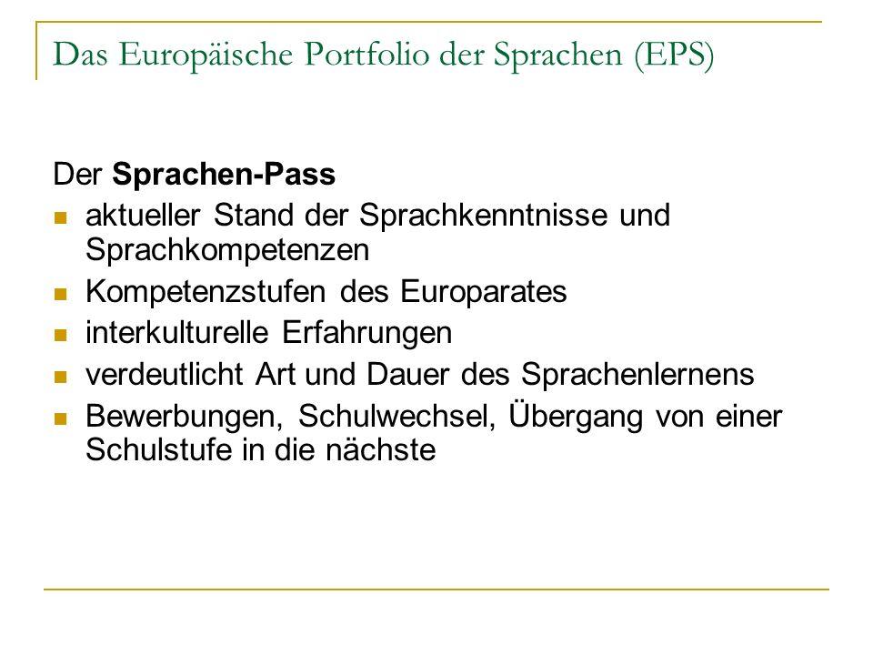 Das Europäische Portfolio der Sprachen (EPS) Der Sprachen-Pass aktueller Stand der Sprachkenntnisse und Sprachkompetenzen Kompetenzstufen des Europara