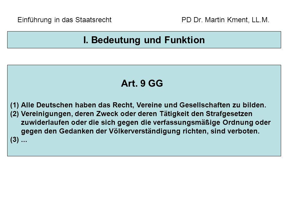 Einführung in das Staatsrecht PD Dr. Martin Kment, LL.M. Art. 9 GG (1)Alle Deutschen haben das Recht, Vereine und Gesellschaften zu bilden. (2)Vereini