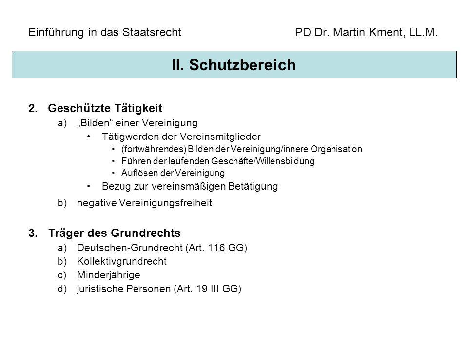 Einführung in das Staatsrecht PD Dr. Martin Kment, LL.M. 2.Geschützte Tätigkeit a)Bilden einer Vereinigung Tätigwerden der Vereinsmitglieder (fortwähr