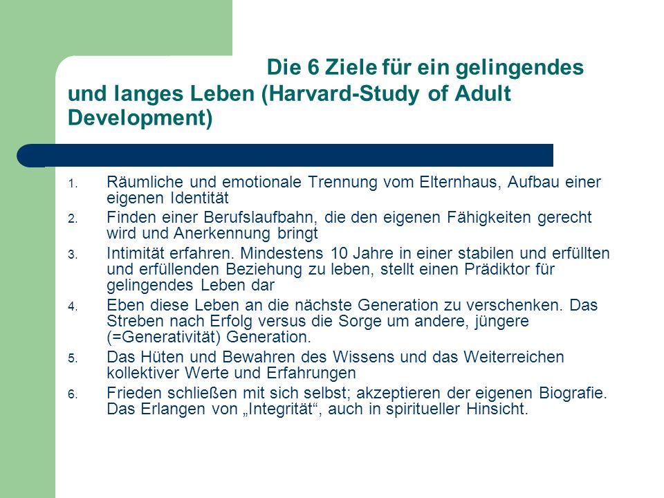 Die 6 Ziele für ein gelingendes und langes Leben (Harvard-Study of Adult Development) 1.