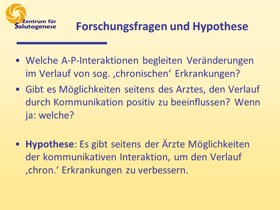 Forschungsfragen und Hypothese Welche A-P-Interaktionen begleiten Veränderungen im Verlauf von sog.