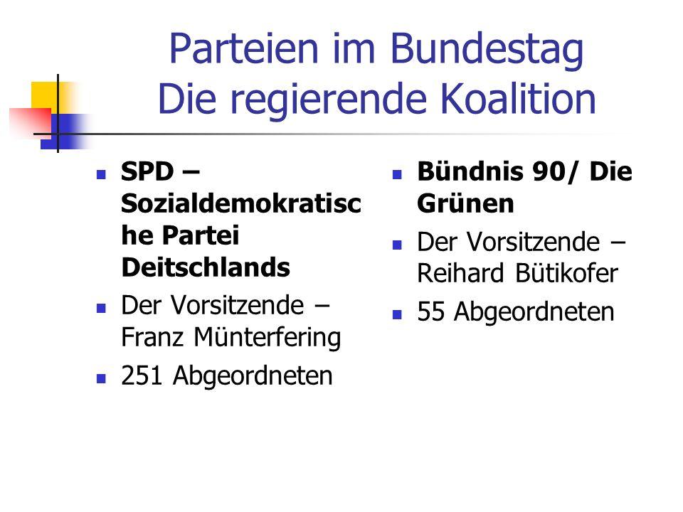 Parteien im Bundestag Die regierende Koalition SPD – Sozialdemokratisc he Partei Deitschlands Der Vorsitzende – Franz Münterfering 251 Abgeordneten Bü