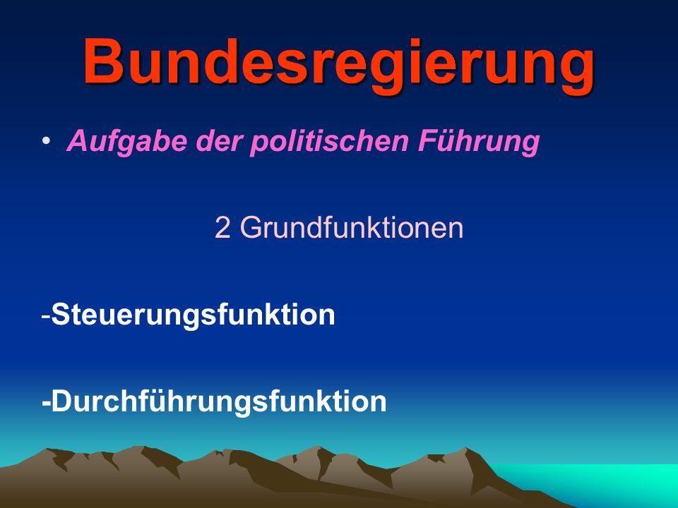 Bundesregierung Aufgabe der politischen Führung 2 Grundfunktionen -Steuerungsfunktion -Durchführungsfunktion