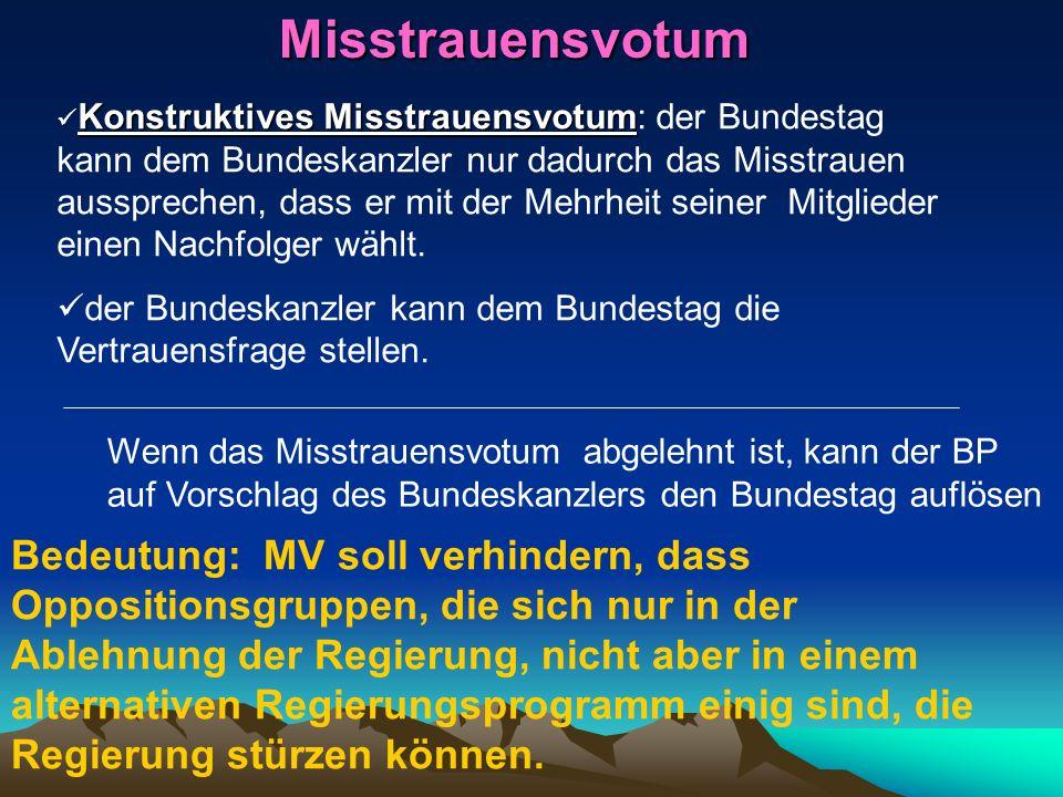 Misstrauensvotum Konstruktives Misstrauensvotum Konstruktives Misstrauensvotum: der Bundestag kann dem Bundeskanzler nur dadurch das Misstrauen ausspr