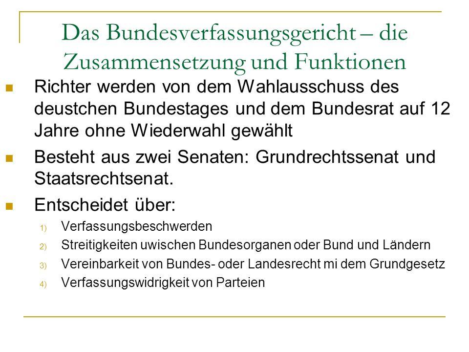 Das Bundesverfassungsgericht – die Zusammensetzung und Funktionen Richter werden von dem Wahlausschuss des deustchen Bundestages und dem Bundesrat auf