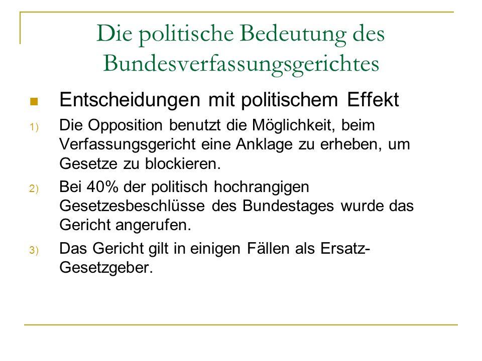 Die politische Bedeutung des Bundesverfassungsgerichtes Entscheidungen mit politischem Effekt 1) Die Opposition benutzt die Möglichkeit, beim Verfassu