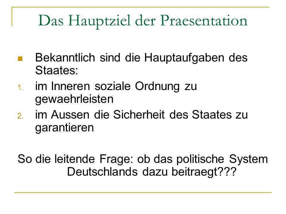 Das Hauptziel der Praesentation Bekanntlich sind die Hauptaufgaben des Staates: 1. im Inneren soziale Ordnung zu gewaehrleisten 2. im Aussen die Siche
