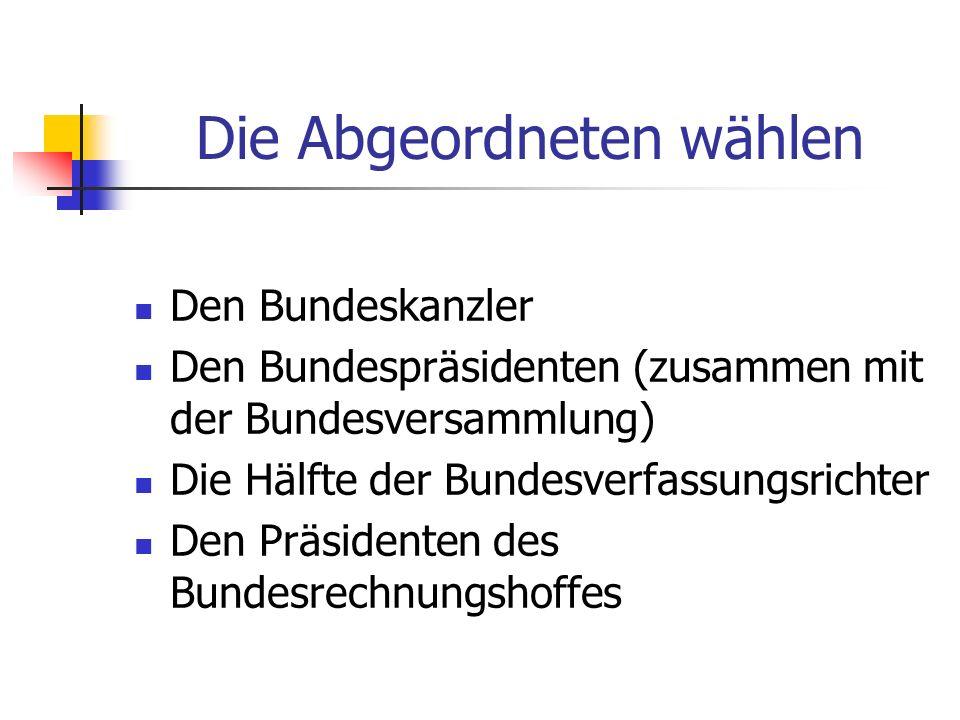 Die Abgeordneten wählen Den Bundeskanzler Den Bundespräsidenten (zusammen mit der Bundesversammlung) Die Hälfte der Bundesverfassungsrichter Den Präsi