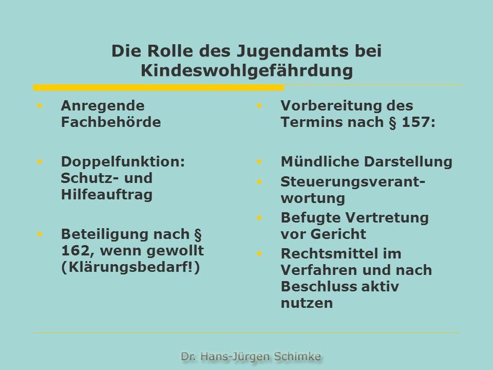 Die Rolle des Jugendamts bei Kindeswohlgefährdung Anregende Fachbehörde Doppelfunktion: Schutz- und Hilfeauftrag Beteiligung nach § 162, wenn gewollt