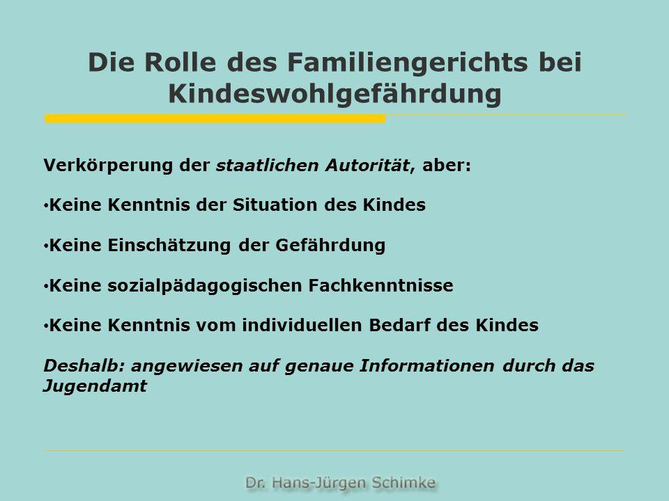 Die Rolle des Familiengerichts bei Kindeswohlgefährdung Verkörperung der staatlichen Autorität, aber: Keine Kenntnis der Situation des Kindes Keine Ei
