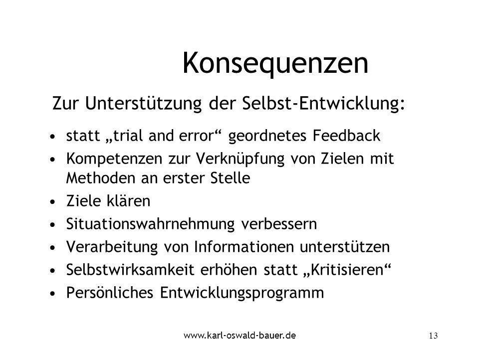 www.karl-oswald-bauer.de13 Konsequenzen statt trial and error geordnetes Feedback Kompetenzen zur Verknüpfung von Zielen mit Methoden an erster Stelle