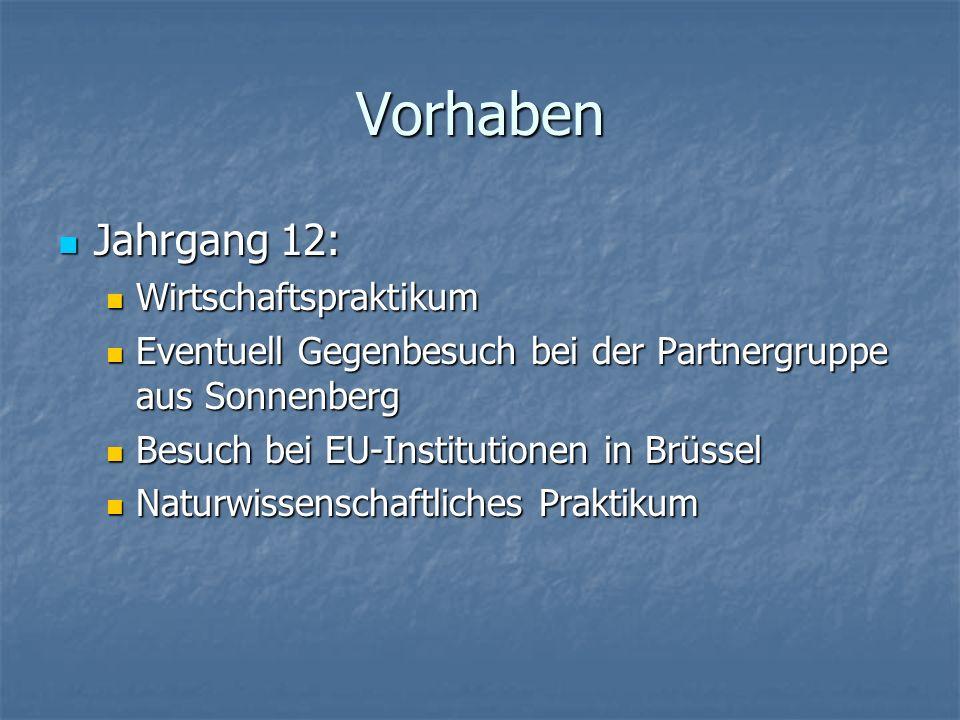 Vorhaben Jahrgang 12: Jahrgang 12: Wirtschaftspraktikum Wirtschaftspraktikum Eventuell Gegenbesuch bei der Partnergruppe aus Sonnenberg Eventuell Gegenbesuch bei der Partnergruppe aus Sonnenberg Besuch bei EU-Institutionen in Brüssel Besuch bei EU-Institutionen in Brüssel Naturwissenschaftliches Praktikum Naturwissenschaftliches Praktikum
