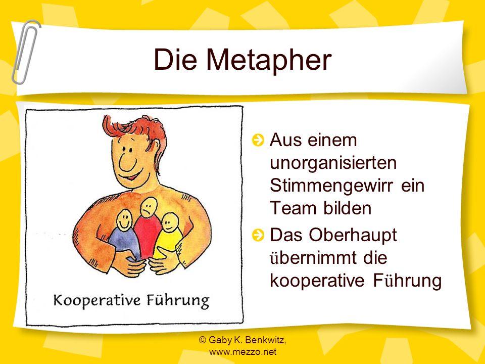 © Gaby K. Benkwitz, www.mezzo.net Die Metapher Aus einem unorganisierten Stimmengewirr ein Team bilden Das Oberhaupt ü bernimmt die kooperative F ü hr