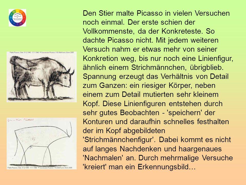 Den Stier malte Picasso in vielen Versuchen noch einmal. Der erste schien der Vollkommenste, da der Konkreteste. So dachte Picasso nicht. Mit jedem we
