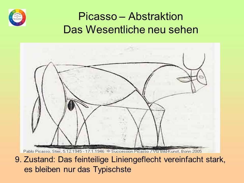 Picasso – Abstraktion Das Wesentliche neu sehen 9. Zustand: Das feinteilige Liniengeflecht vereinfacht stark, es bleiben nur das Typischste
