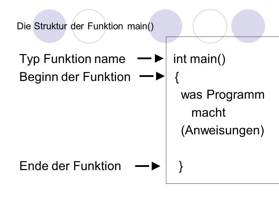Die Struktur der Funktion main() Typ Funktion name int main() Beginn der Funktion { was Programm macht (Anweisungen) Ende der Funktion }