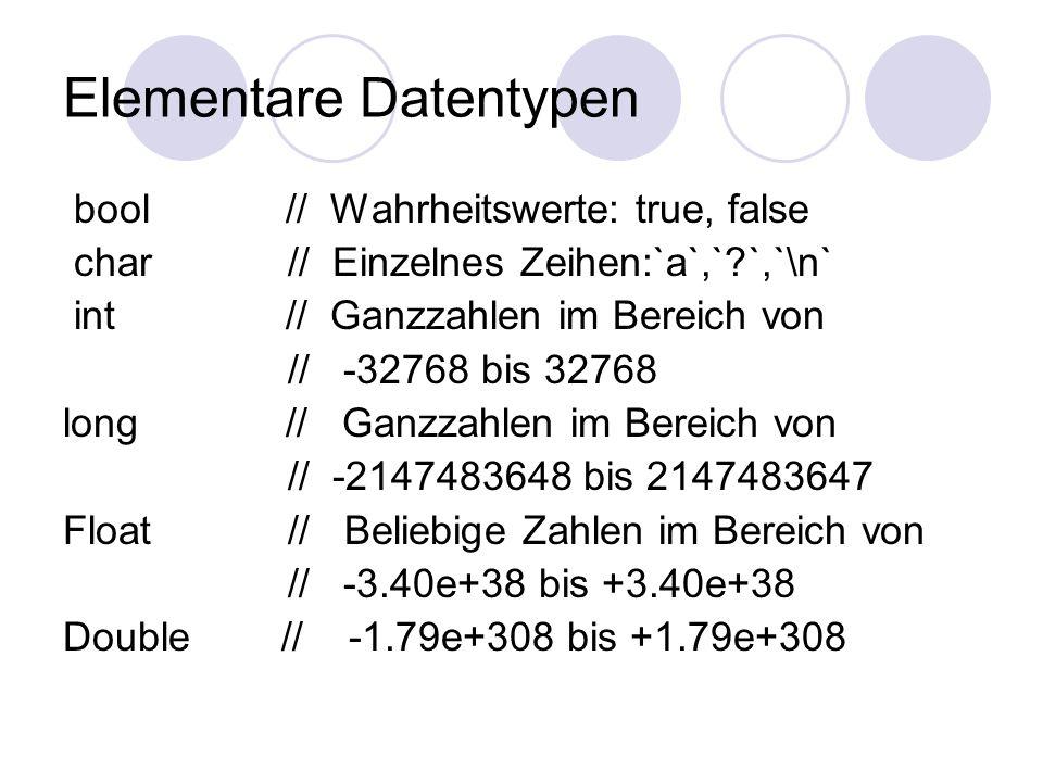 Elementare Datentypen bool // Wahrheitswerte: true, false char // Einzelnes Zeihen:`a`,` `,`\n` int // Ganzzahlen im Bereich von // -32768 bis 32768 long // Ganzzahlen im Bereich von // -2147483648 bis 2147483647 Float // Beliebige Zahlen im Bereich von // -3.40e+38 bis +3.40e+38 Double // -1.79e+308 bis +1.79e+308