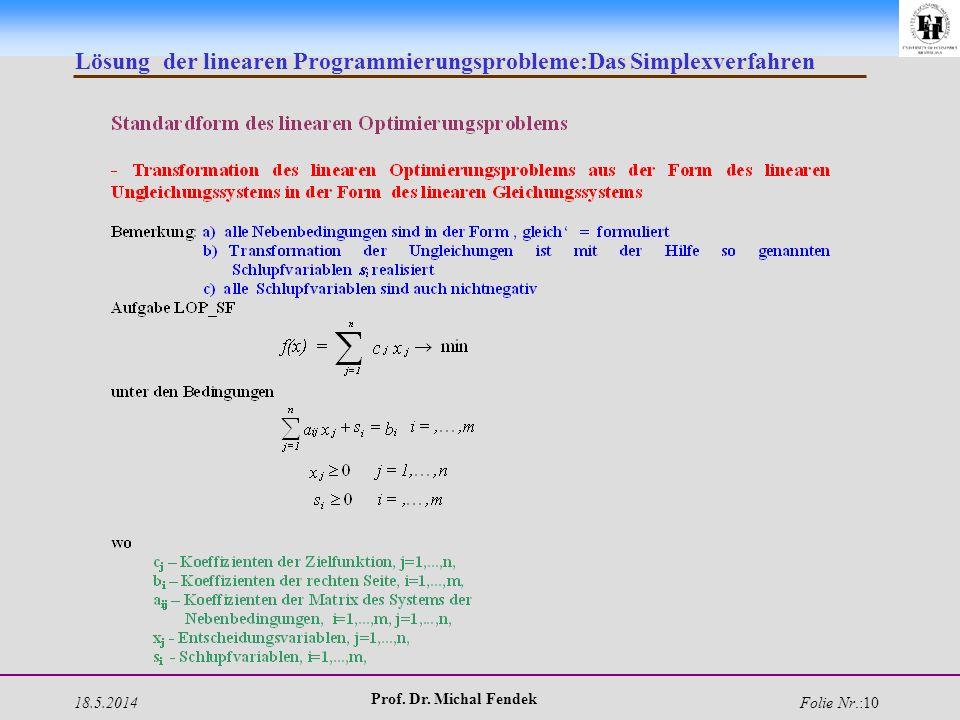 18.5.2014 Prof. Dr. Michal Fendek Folie Nr.:10 Lösung der linearen Programmierungsprobleme:Das Simplexverfahren