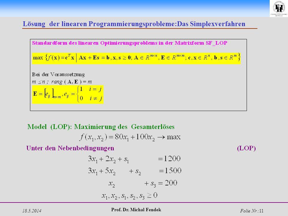 18.5.2014 Prof. Dr. Michal Fendek Folie Nr.:11 Lösung der linearen Programmierungsprobleme:Das Simplexverfahren