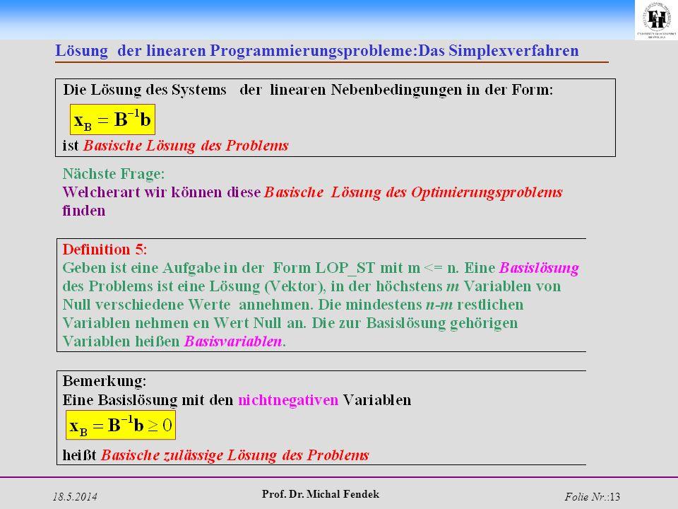 18.5.2014 Prof. Dr. Michal Fendek Folie Nr.:13 Lösung der linearen Programmierungsprobleme:Das Simplexverfahren