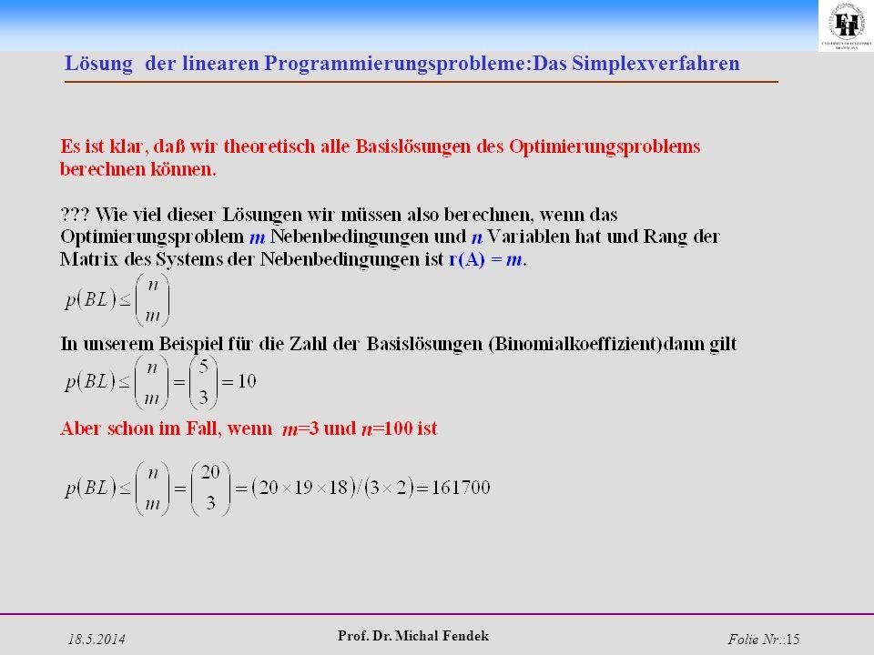 18.5.2014 Prof. Dr. Michal Fendek Folie Nr.:15 Lösung der linearen Programmierungsprobleme:Das Simplexverfahren