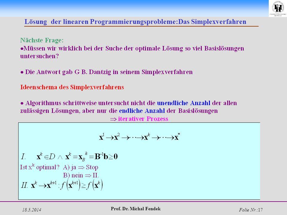 18.5.2014 Prof. Dr. Michal Fendek Folie Nr.:17 Lösung der linearen Programmierungsprobleme:Das Simplexverfahren