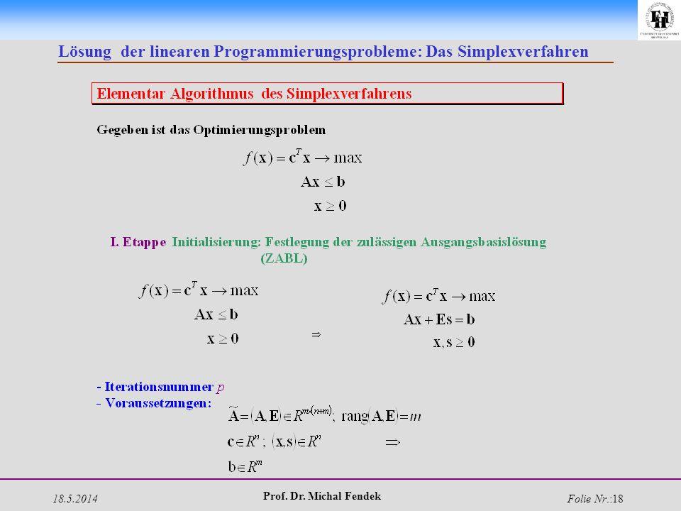 18.5.2014 Prof. Dr. Michal Fendek Folie Nr.:18 Lösung der linearen Programmierungsprobleme: Das Simplexverfahren